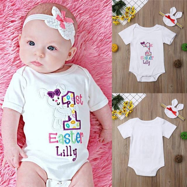 ff4850f2d294 Online Shop 2019 New Brand Newborn Infant Baby Girls Clothes Easter Jumpsuit  Cute Soft Bodysuit + Headband Outfits New Born Summer Bodysuit