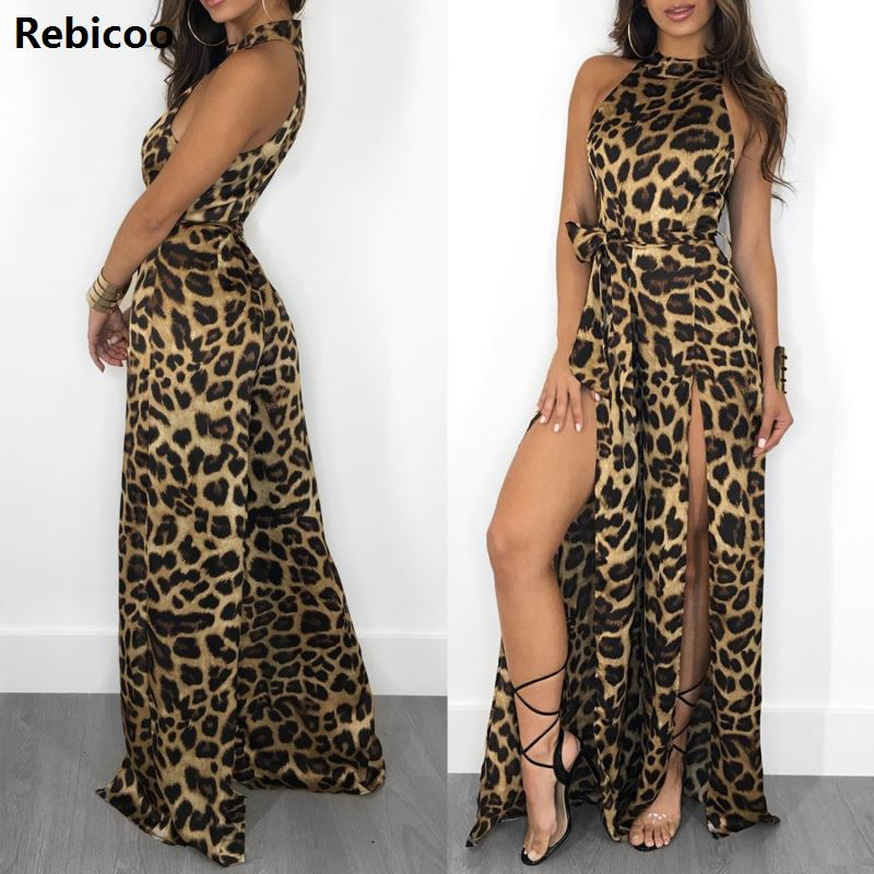 leopard halter wide leg winter jumpsuit Long high split sleeveless jumpsuits rompers Sexy playsuit female jumpsuit 2019 in Jumpsuits from Women 39 s Clothing