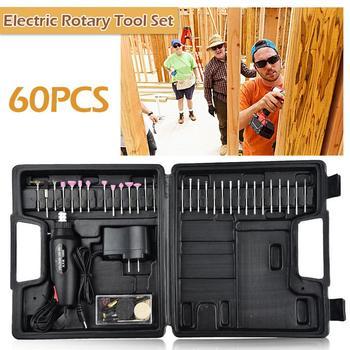 60 unids/set 12 V Mini eléctrica pulidor de Rotary herramienta eléctrica DIY de pluma de grabado de mano Taladro kits