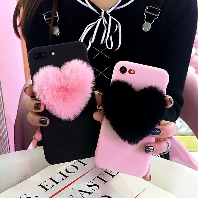 Luxury <font><b>3D</b></font> Cartoon Love Heart <font><b>case</b></font> For <font><b>VIVO</b></font> Y71 X21 V7 PLUS X20 PLUS Rabbit Fur Plush Super Cute Soft TPU Cover For Y65 Y53 <font><b>Y69</b></font> image