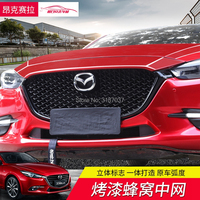 For Mazda 3 Axela 2017 2018 Front Bumper Grill Upper Grille Black Center Racing Grill Grille Protector