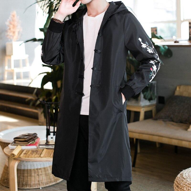 #4031 Frühling Herbst Lange Graben Mantel Männer Dünne Chinesischen Stil Vintage Stickerei Floral Streetwear Windjacke Mit Mit Kapuze M-5xl Angenehme SüßE