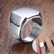 Solid Stainless Steel Men's Stamp Ring Wedding brands Signet