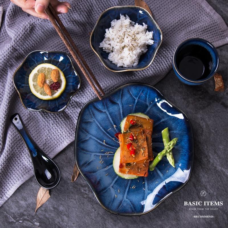 Service de couverts en céramique 5 pièces | Four japonais changement de couleur une personne, vaisselle assortie, cuillère tasse assiette hôtel Restaurant