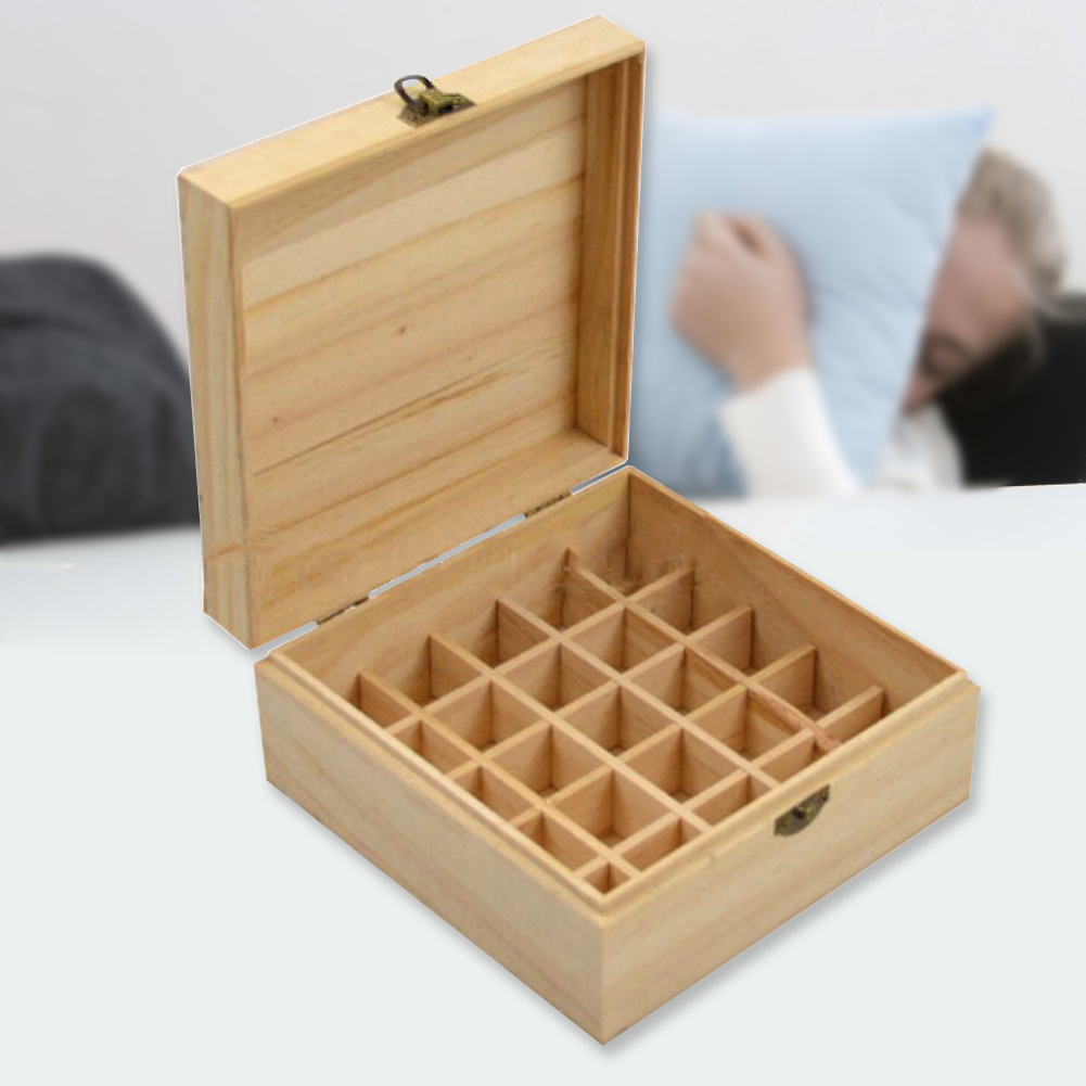 25 Slots Plant Therapy Essential Oil Storage Wood Box Case Solid Wooden Container Holder Organizer For Carrying Home Storage in Storage Boxes Bins from Home Garden