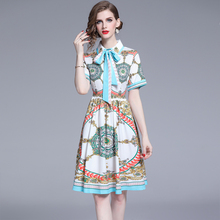 Banulin 2019 New Summer Runway Designer Dress Womens Short Sleeve Bow Collar Floral Print Knee Length Party Vestidos