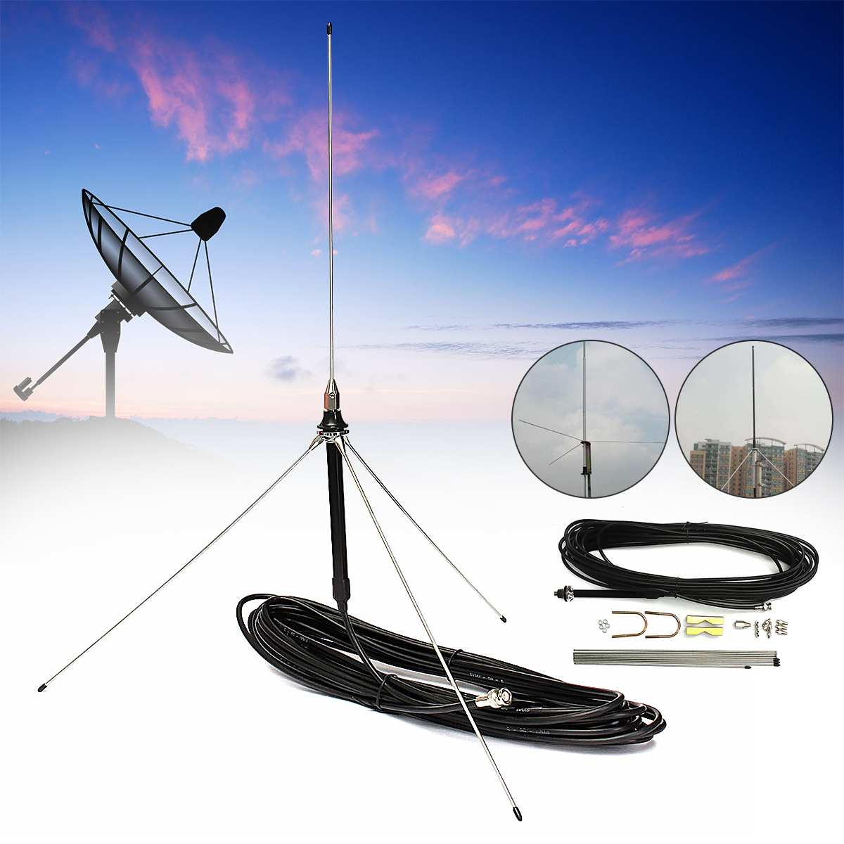 New 15M Cable Powerful 1/4 Wavelength GP Antenna for 0.5-30W Watt FM TransmitterNew 15M Cable Powerful 1/4 Wavelength GP Antenna for 0.5-30W Watt FM Transmitter