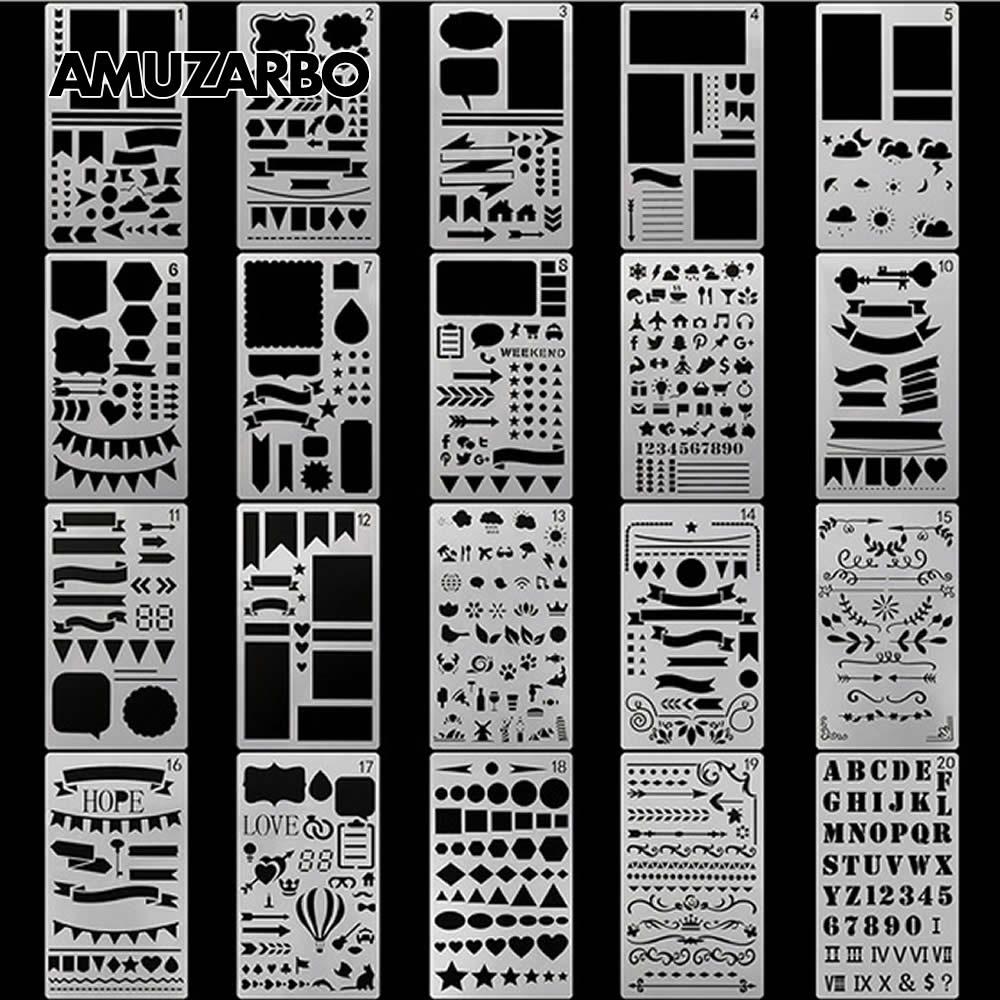 Plantilla de pintura creativa, tamaño A6, cuenta manual, DIY, álbum, tema, regla de lazo, tablero de dibujo, plantilla, herramientas de decoración