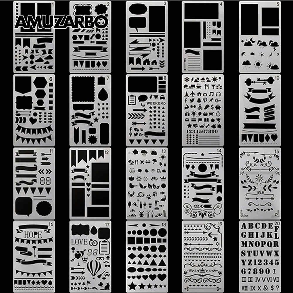 Plantilla de pintura creativa tamaño A6 cuenta de mano DIY álbum tema encaje regla tablero de dibujo plantilla herramientas de decoración