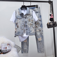 2019 Spring New Women's Pearl Embroidered Jeans Suit Ladies Hole Ripped Jeans Vest + Denim Trousers Two Piece Sets