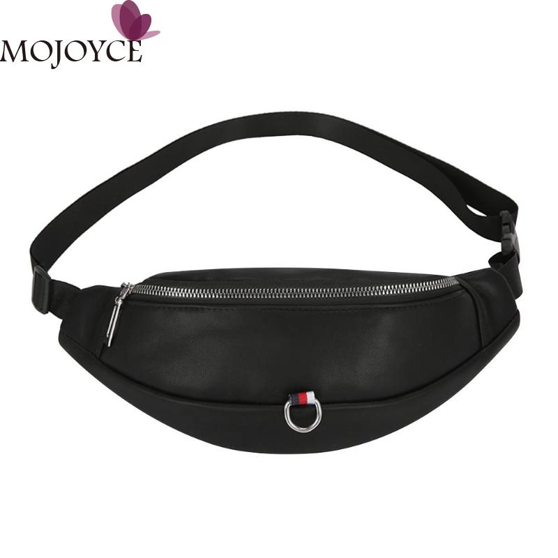 PU Leather Shoulder Crossbody Bags Women Phone Pouch Casual Belt Fanny Money Chest Handbags Purse Ladies Black/White Waist Pack