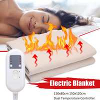 150x120cm 4 Level 220V Waterproof Electric Heating Blanket Dual Temperature Timing Controller 2 Size Heater Pad for Bed Mattress