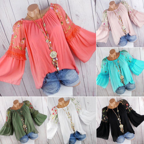 Plus Size Women Lady Autumn Flower Print   Blouse   Summer Casual Chiffon Long Sleeve O-neck Tunic   Blouse     Shirts