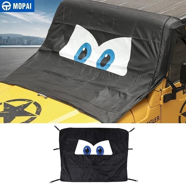 MOPAI Windshield Sunshades for Jeep Wrangler 1997-2018 Car Front Window Anti Snow UV Rays Sun Visor Cover for Wrangler TJ JK JL