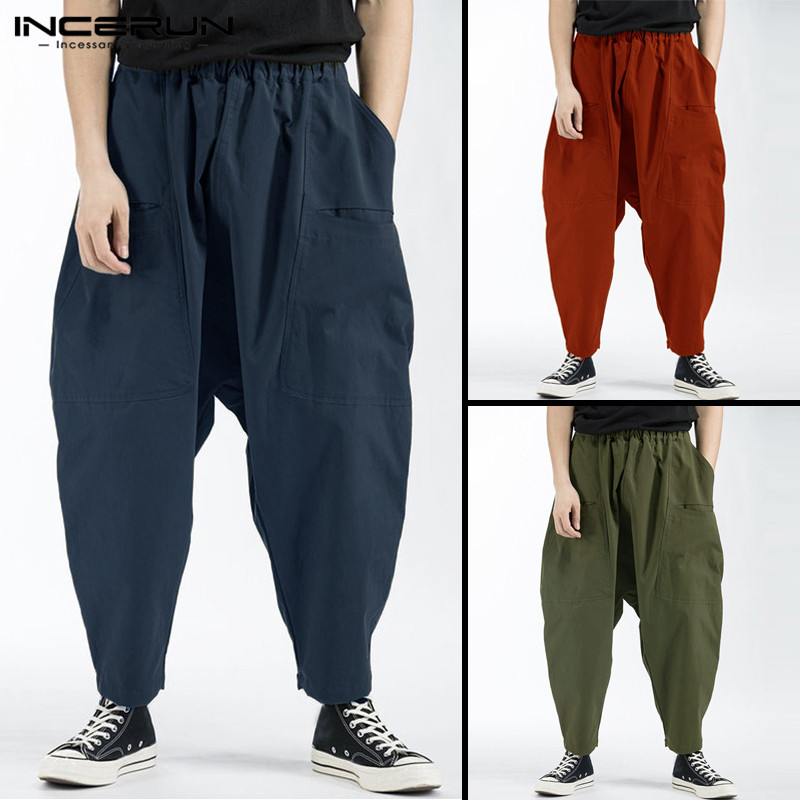 INCERUN Solid Women Men Harem Pants Hiphop Trouser Baggy Vintage Drop Crotch Joggers Loose Elastic Waist Wide Legs Male Clothes
