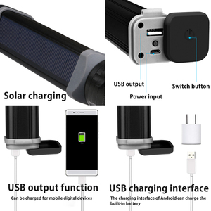 Image 3 - Solar/USB Powered Flashlight Rechargeable Solar Flashlights 18650 Torch For Outdoor Camping Mobile Power Bank Built in Battery