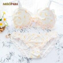 Underwear Japanese Bra Yellow Kawaii Lolita Panties-Set Cute Wirefree Color-Light Banana