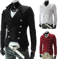 Men's Fashion European Style Double breasted Casual Lapel Slim Suit Blazer Coat