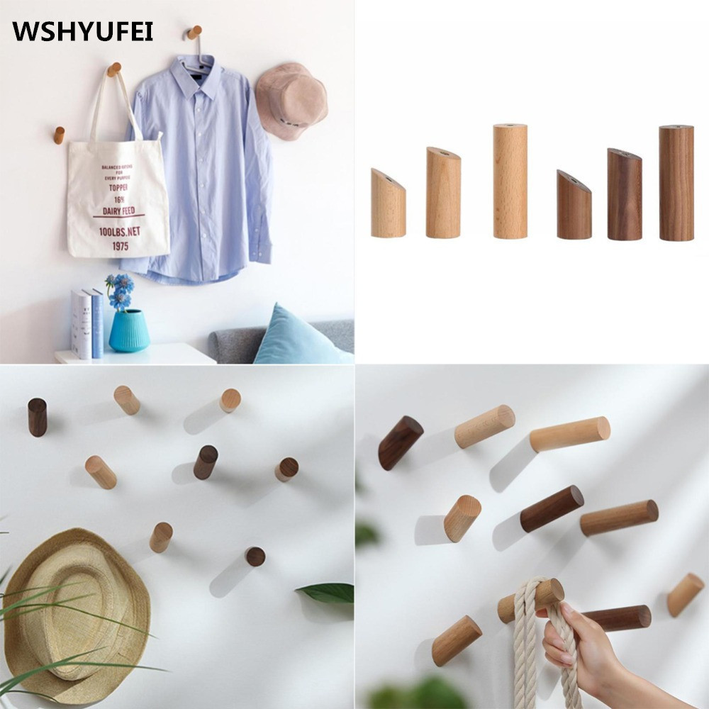 Natural Wooden Wall Hanger Robe Hook Wood Home Room Decoration Wall Mounted Coat Clothes Scarf Hat Bag Storage Hanger Hooks