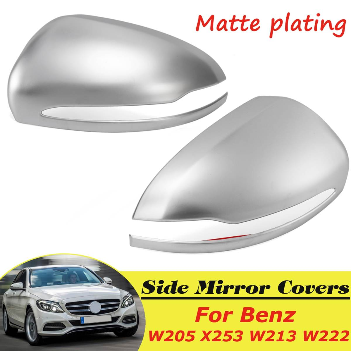 Glossy Black Side Wing Mirror Cover Caps Fits For Benz W205 X253 W213 W222