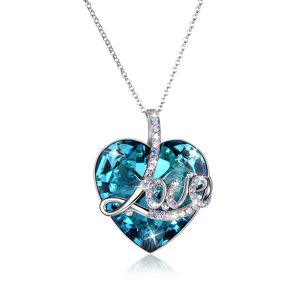 Pure 925 Sterling Silver big blue crystal stone with Love letter pendant necklace for women long sweater chain fine jewelry
