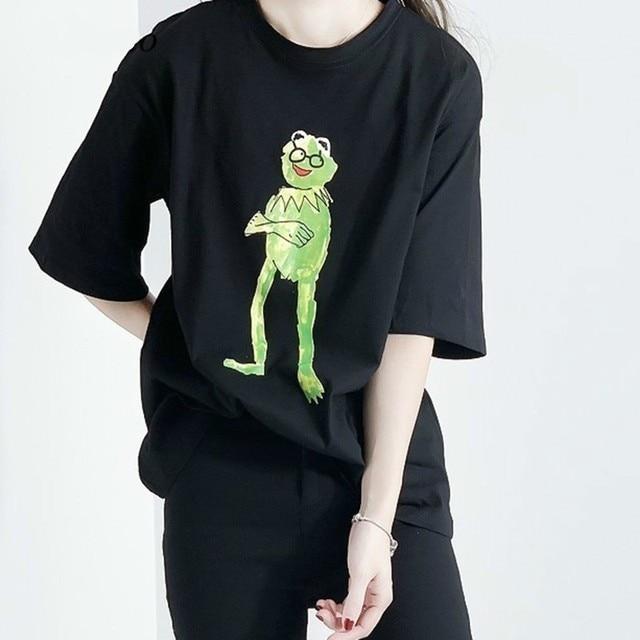 New Magical Frog Short Sleeve O Neck T-shirts 2019 harajuku Summer Fashion Casual Loose Cotton Pullovers Tee