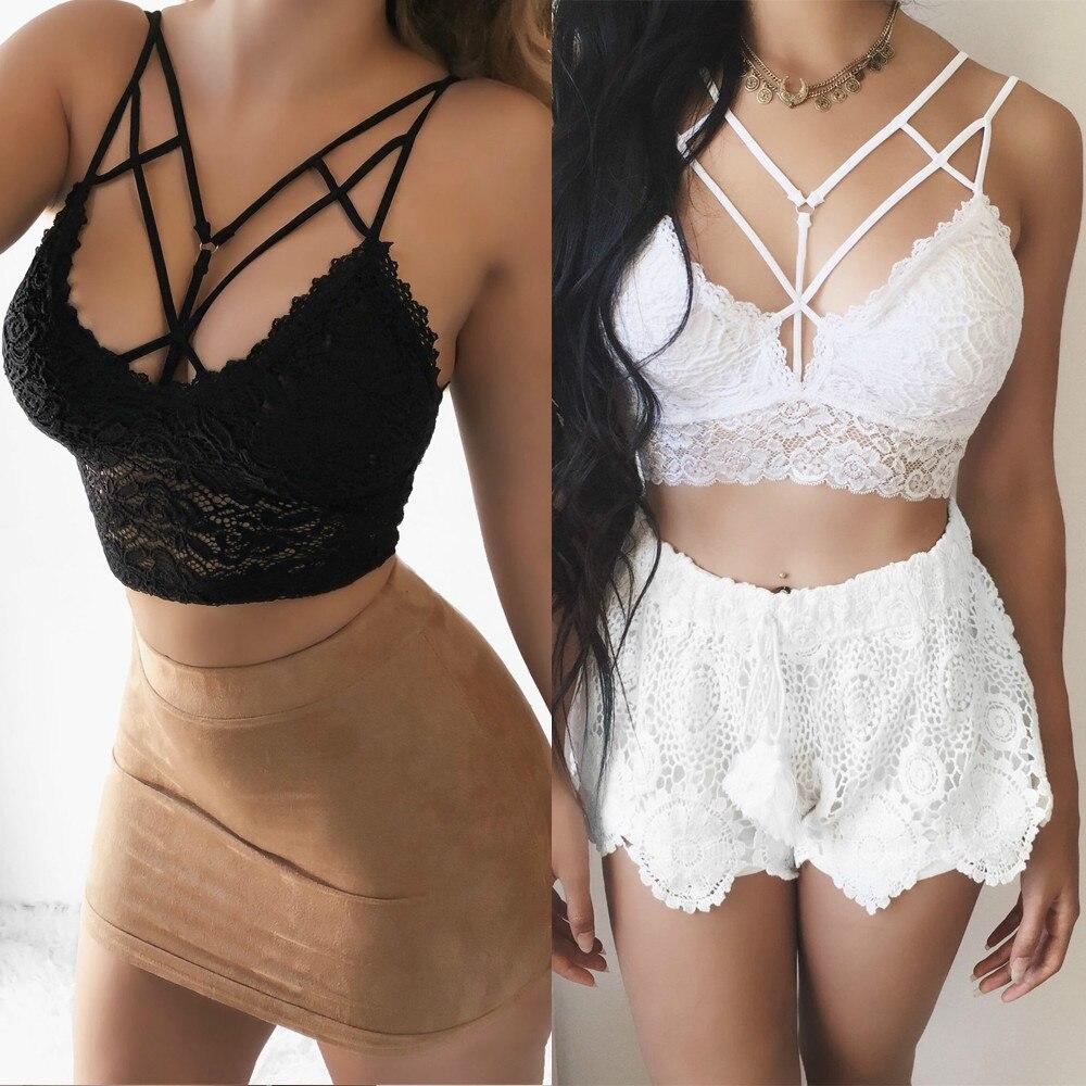 2019 New Women Lace Strap V Neck   Tanks     Top   Bras Bandage Short Crop   Top   Vest Camisole Shirt Underwear Summer   Tops   Plus Size