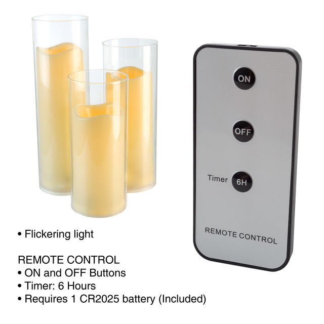 3 Piece Glass LED Flameless Flickering Candle Set Remote and Timer Battery Operated