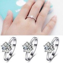 0ce436378166 Hermoso único de circón de plata de novia de la boda 1 unid San Valentín  regalo parejas regalo de boda anillos de joyería anillo.