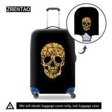 3D Skull Black Travel Luggage Suitcase Protective Cover for Trunk Case Apply to 18''-32'' Suitcase Cover Thick Elastic Perfectly(China)
