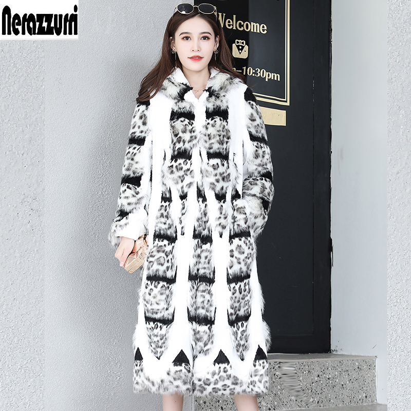 Nerazzurri Runway Hooded Chinchilla Fur Coat New Arrival 2019 Long Faux Fur Coat Women Plus Size Patchwork Fake Fur Outwear 5xl
