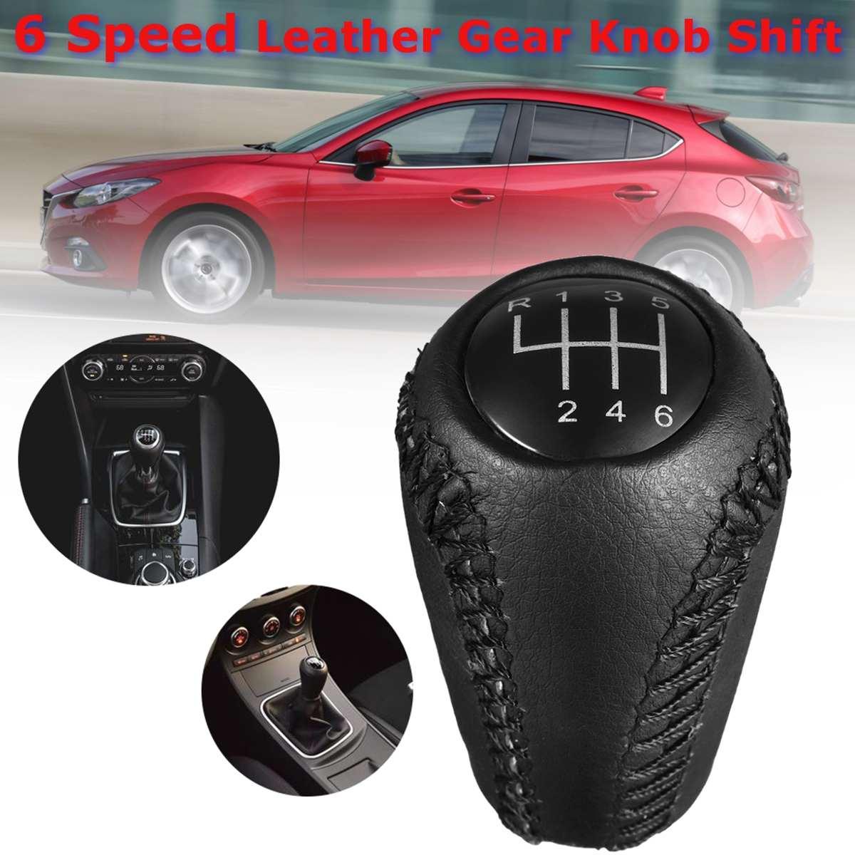 Pour Mazda 3 BK BL 5 CR CW 6 II GH CX-7 ER MX-5 NC III 2005 2006 2007 2008 2009 2010 2011 6 Vitesse En Cuir Gear levier bouton Shift
