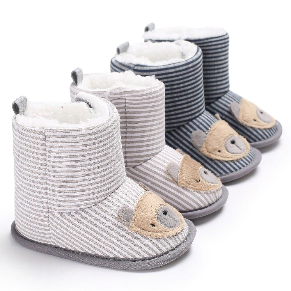 0-18 Months Cotton Cartoon Bear Fleece Snow Boots Baby Girl Boy Prewalker Baby Booties Moccasins First Walkers