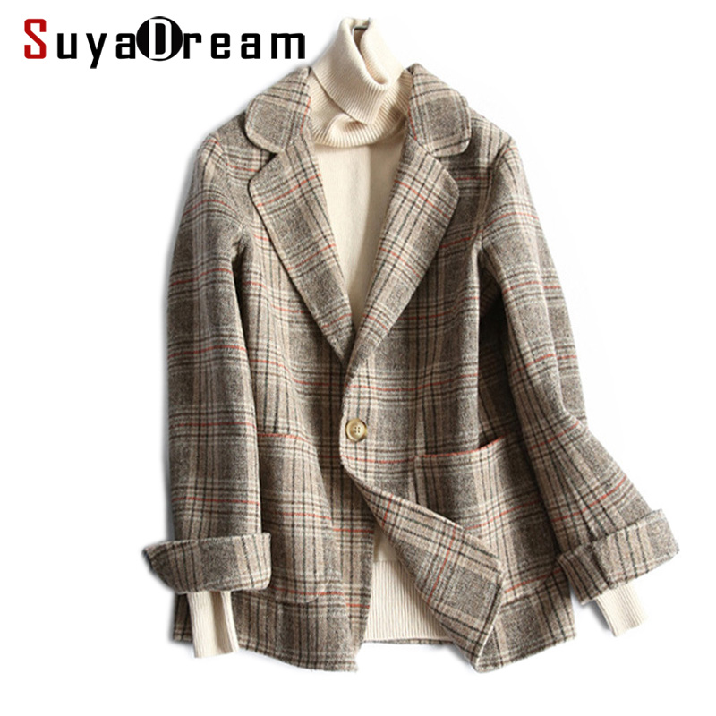 Women Wool Blazer 80%Wool 20%Poly Plaid Office Lady Blazer Single Button Two Pocket Jacket 2019 Spring Wool Coat