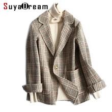 купить Women Wool Blazer 80%Wool 20%Poly Plaid Office Lady Blazer Single Button Two Pocket Jacket 2019 Spring Wool Coat по цене 5101.08 рублей