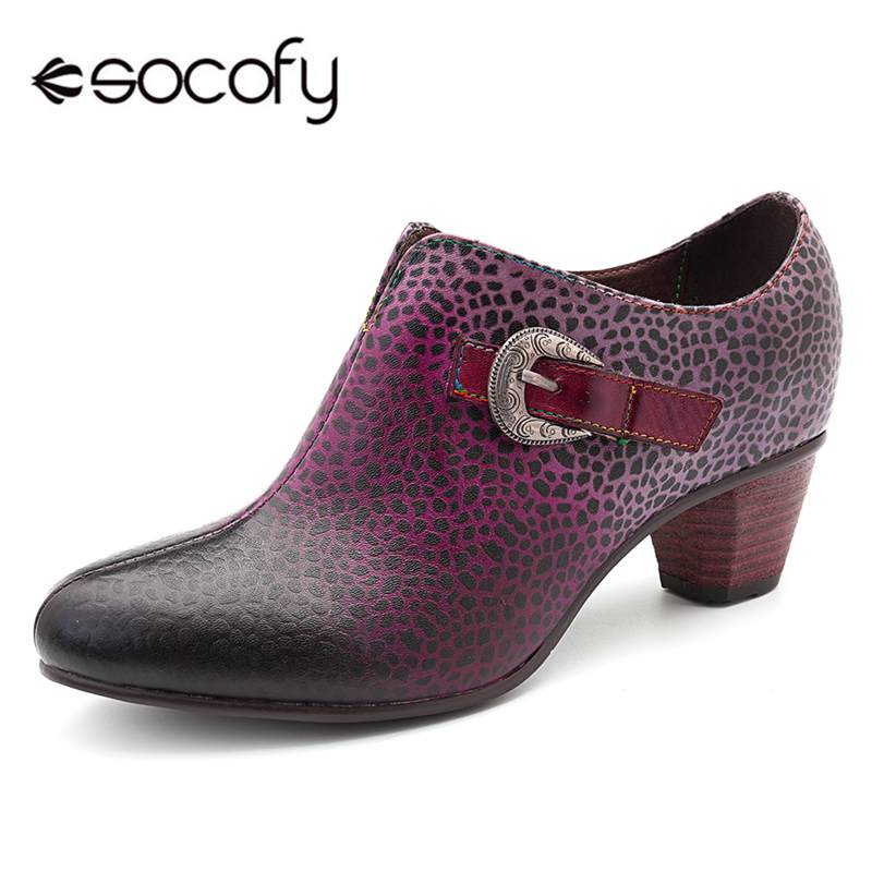 Socofy Fashion Retro Pumps Women Shoes Woman Buckle Decor Zipper 4.5cm Block Heels Pointed Toe Spring Autumn Woman Ladies Shoes