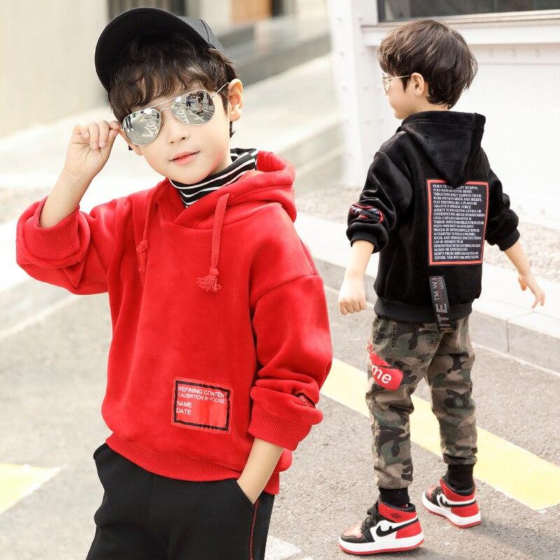 New Pattern Children's Garment Korean Boys Long Thickening Hoodies Sweatshirts