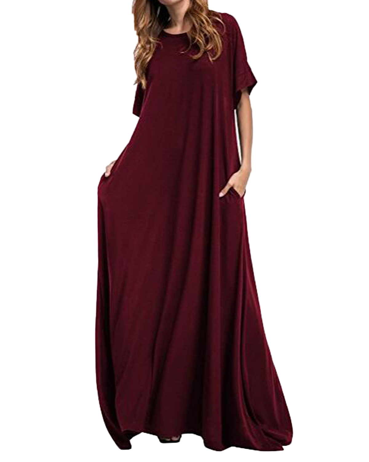 ZANZEA 2019 Long Maxi Dress Women Half Sleeve Solid Round Neck Vintage Plus Size Casual Loose Long Elegant Robe Bodycon Vestidos