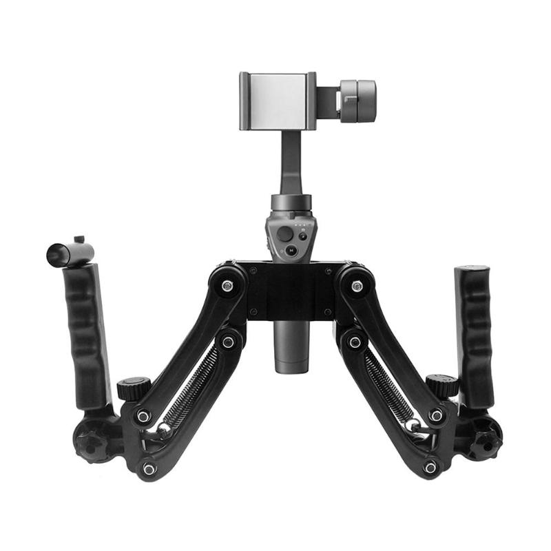 Black Aviation Aluminum Alloy + ABS Spring Dual Handle Grip Gimbal Hold Arm For DJI OSMO OSMO Mobile/ Mobile 2 Ronin S alloyseed dual handle grip gimbal hold arm for dji osmo osmo mobile mobile 2 ronin s