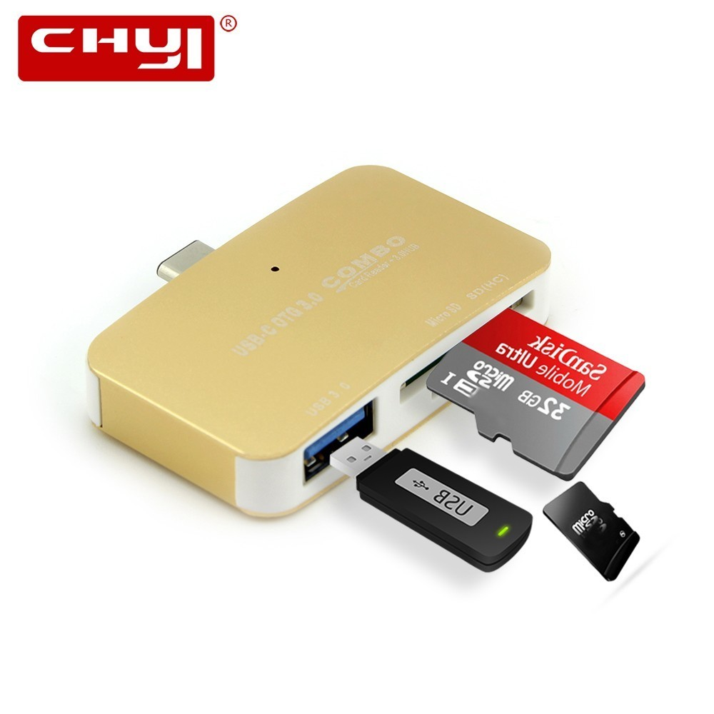 CHYI Mini Computer USB C Hub Combo 3.0 Type C 3 Port Multiple Splitter With Card Reader SD TF Slot LED High Speed PC Accessories