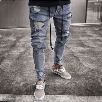 Hot sale hole  high waist Men's Ripped Skinny Jeans Destroyed Frayed Slim Biker Denim Pants Zipper knee holes frayed zipper fly narrow feet ripped jeans