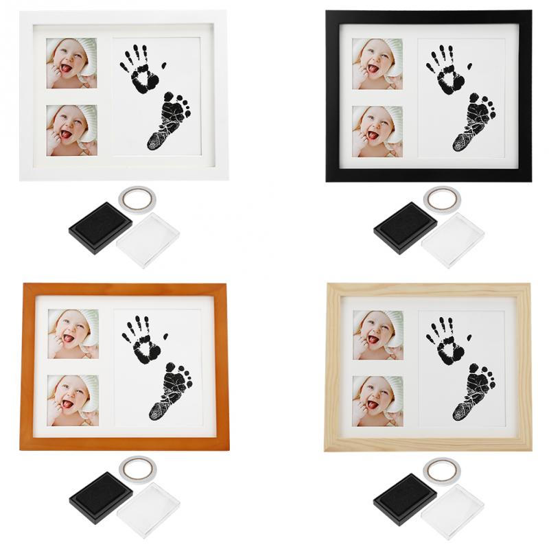 Wooden Photo Frame Baby Handprint Footprint Kit With Stamp Ink Pad Decor Gifts For Newborn Boy Girl Best Infant Hand Foot Print