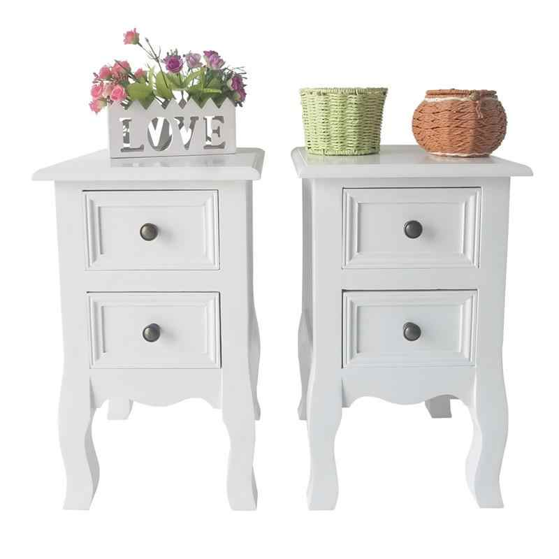 2pcs Country Style Two-layer Bedside Cabinets 2 Tiers 2 Drawer Bedside End Table Nightstand Home Bedroom Furniture