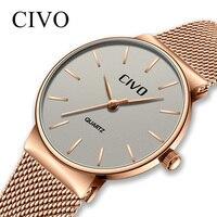 CIVO New Top Brand Luxury 2019 Ladies Waterproof Mesh Strap Quartz Watches Wrist Watches Clock Bayanlar Izle Reloj De Dama