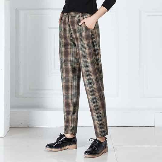 Shuchan チェック柄温め女性のパンツ 70% ウールの女性の冬のファッション 2018 ハイウエストのズボン女性のためのパンツ冬