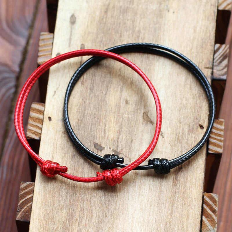 ホット調整可能なロープのブレスレット男性赤、黒文字列マッチングペアブレスレットカップル