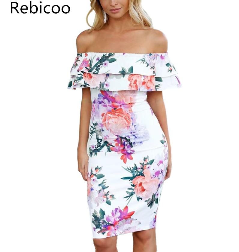 Fashion New Women Off Shoulder Party Dresses Ladies Frilled Midi Dress Ruffles