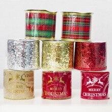 Рождественская лента для украшения 6 см, атласная лента для украшения, золотистый, красный олень, клетчатая тесьма, дерево, Декор, сделай сам, бант, подарочная оберточная лента