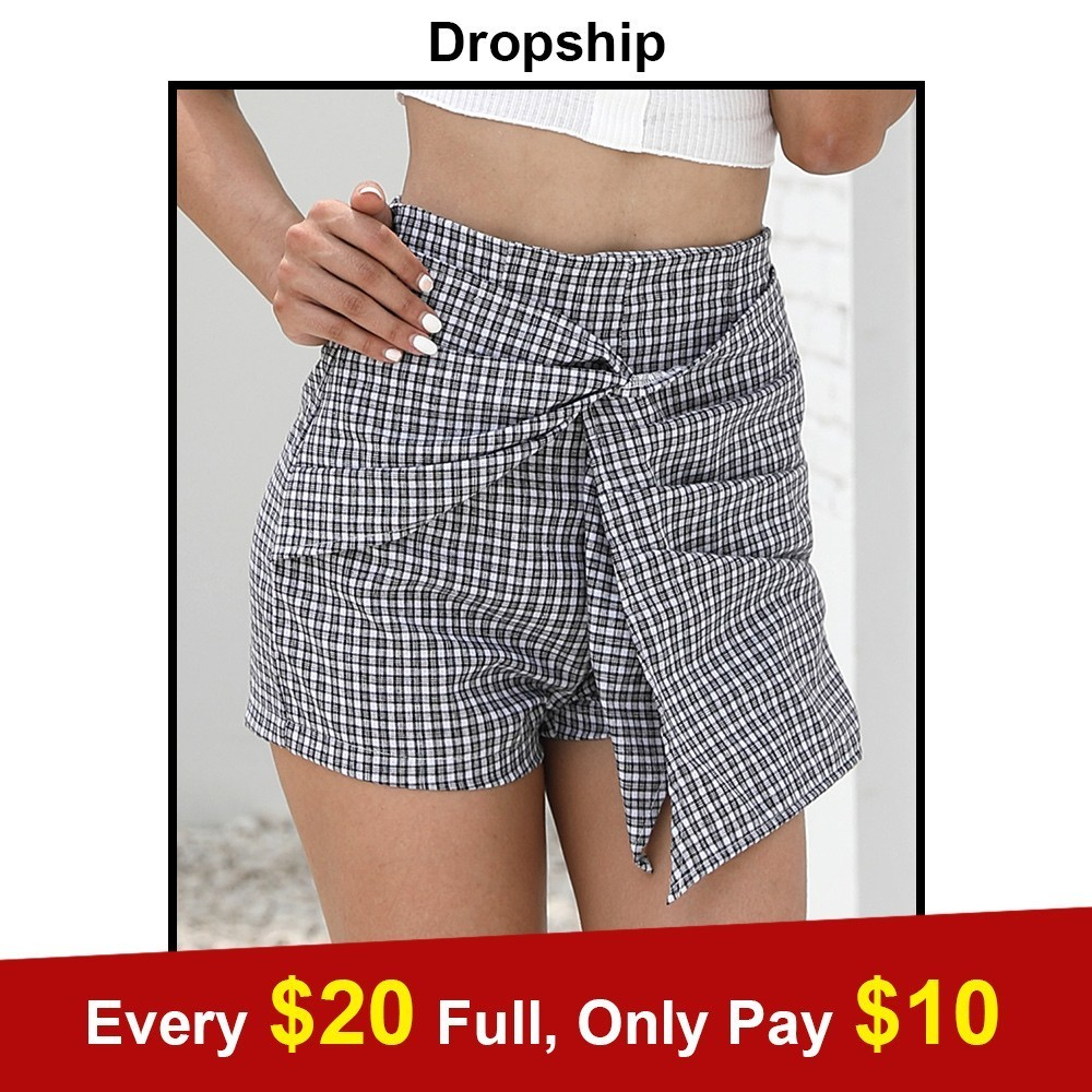 Dropship   Shorts   Skirts 2018   Short   Pants High Waist Bow Plaid Cotton Summer Beach Casual Street Sexy Women Black Yellow Lace Up