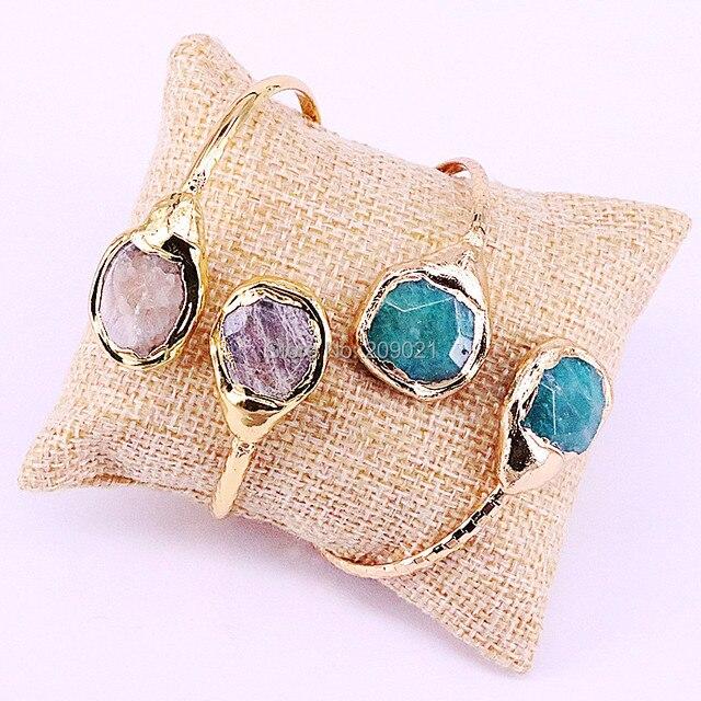 5 stücke Trendy Gold Farbe Doppel Natürliche Steine Metall Kupfer Manschette Armreif für Frauen